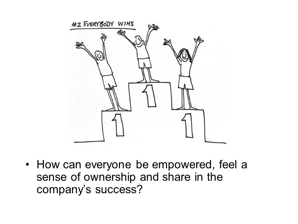 How can everyone be empowered, feel a sense of ownership and share in the company's success