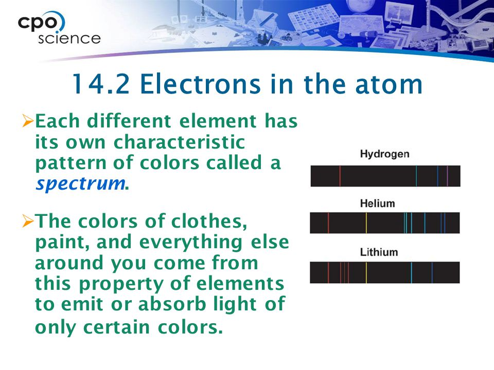14.2 Electrons in the atom Each different element has its own characteristic pattern of colors called a spectrum.