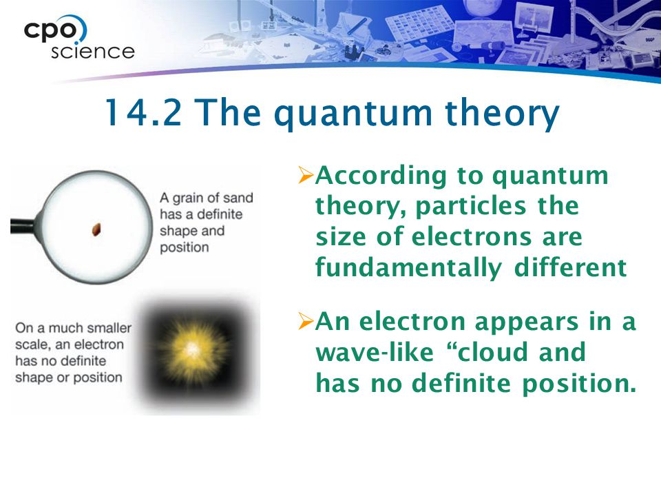 14.2 The quantum theory According to quantum theory, particles the size of electrons are fundamentally different.