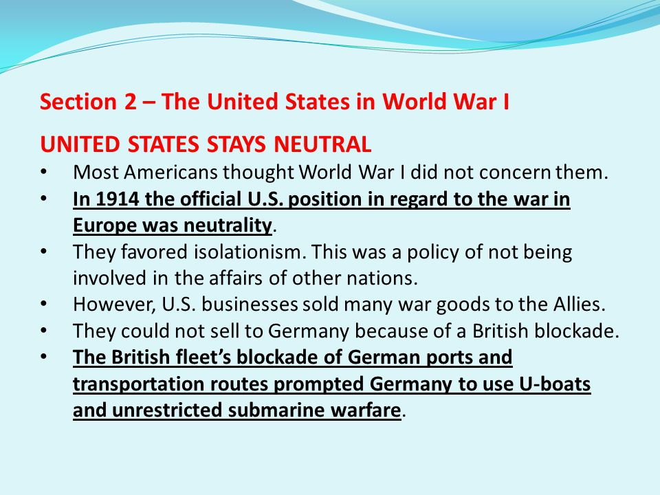 Section 2 – The United States in World War I