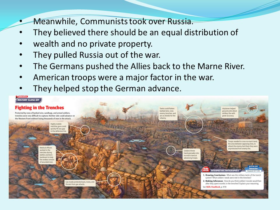 Meanwhile, Communists took over Russia.