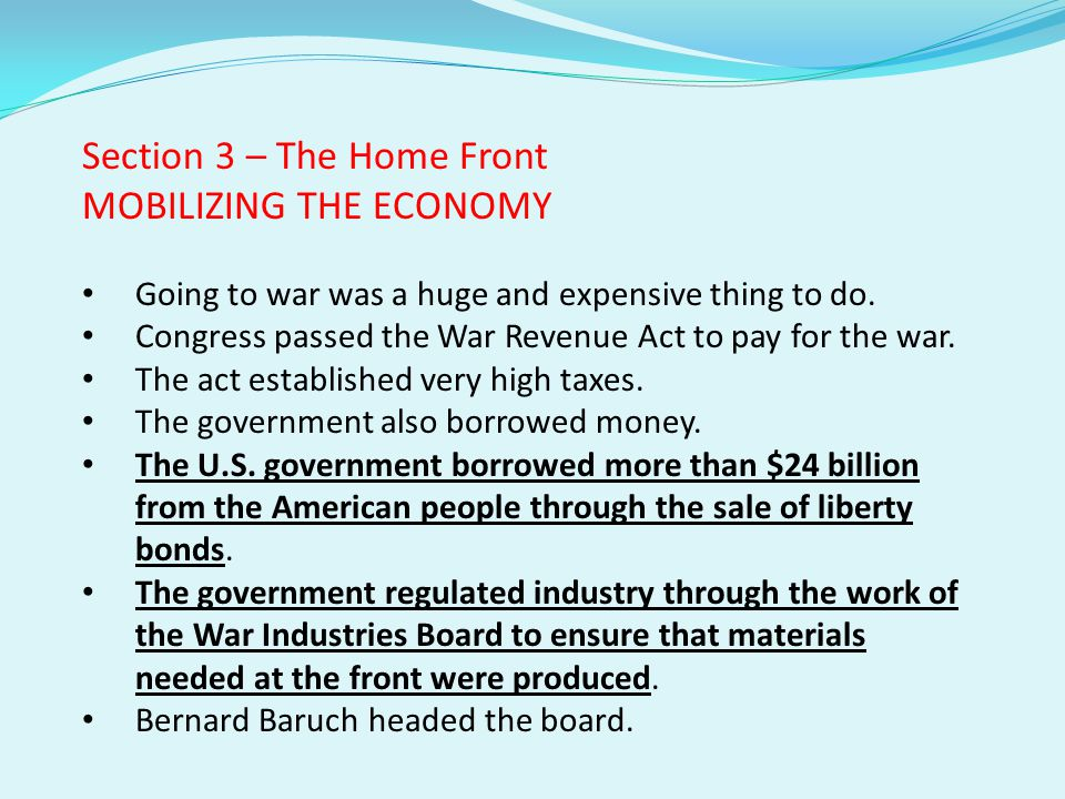 Section 3 – The Home Front MOBILIZING THE ECONOMY