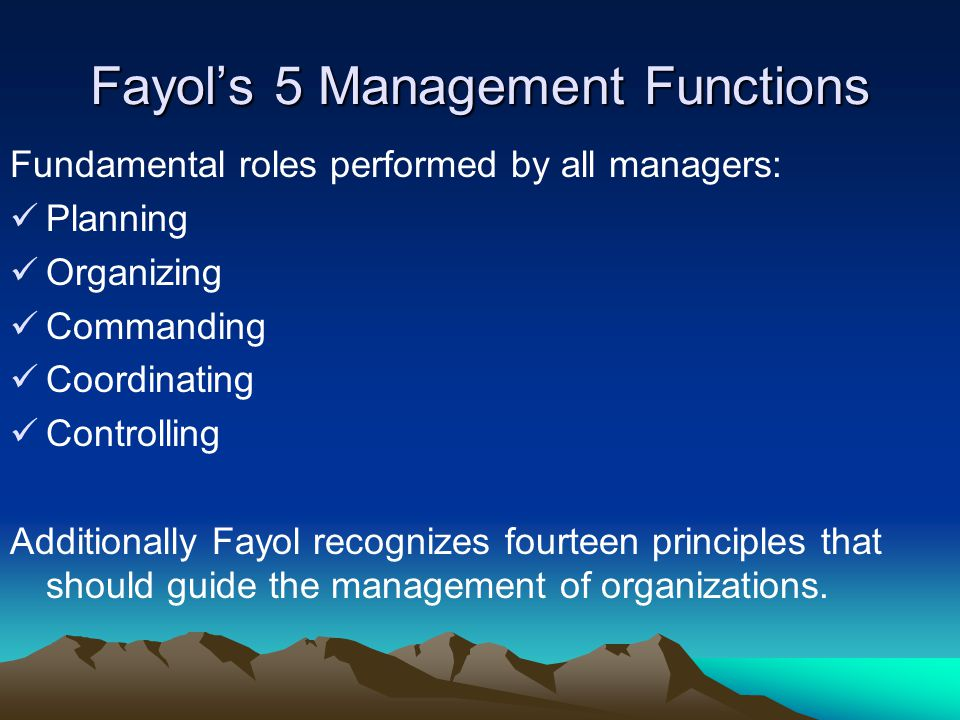 Fayol's 5 Management Functions