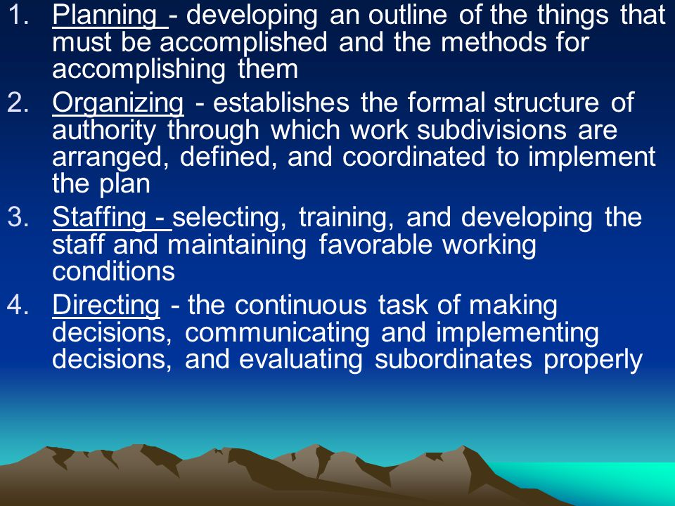 Planning - developing an outline of the things that must be accomplished and the methods for accomplishing them