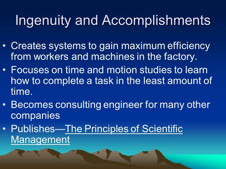 Ingenuity and Accomplishments