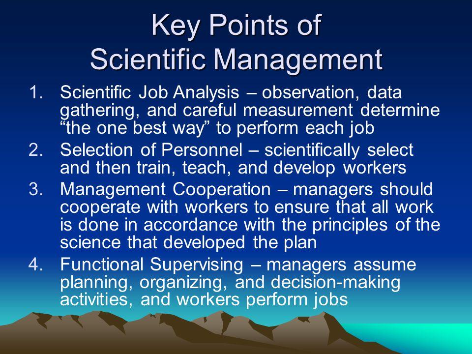 Key Points of Scientific Management