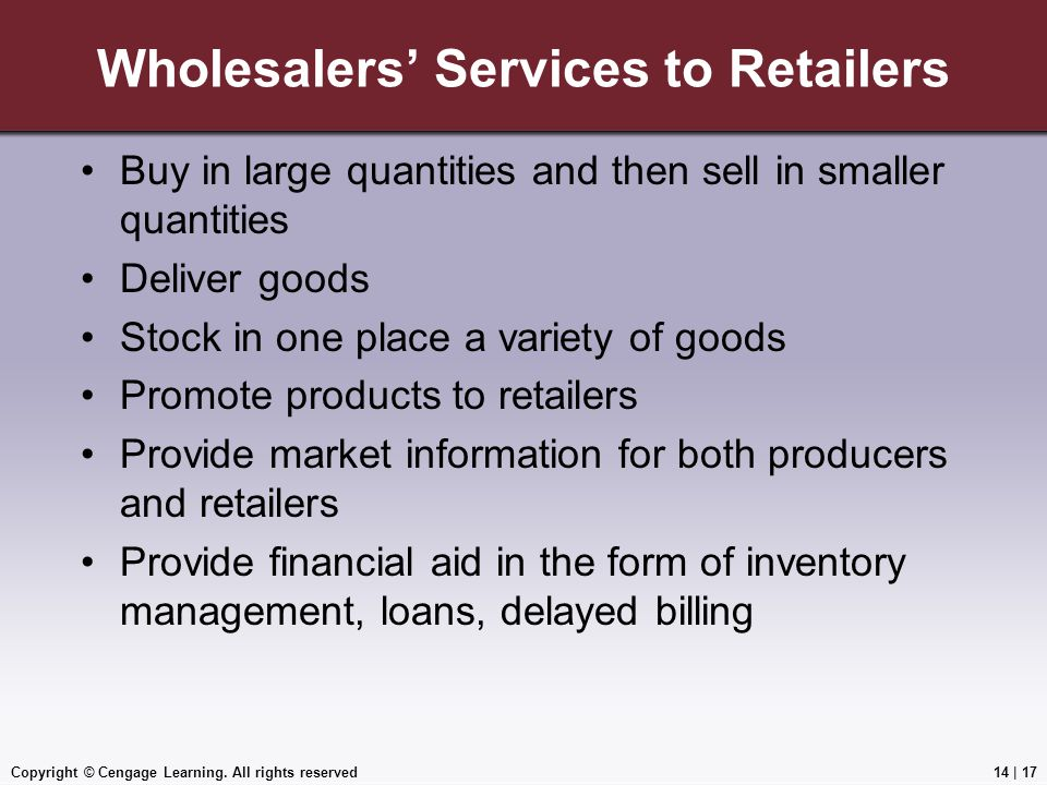 Wholesalers' Services to Retailers