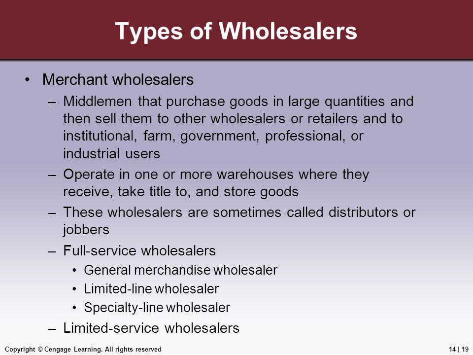 Types of Wholesalers Merchant wholesalers