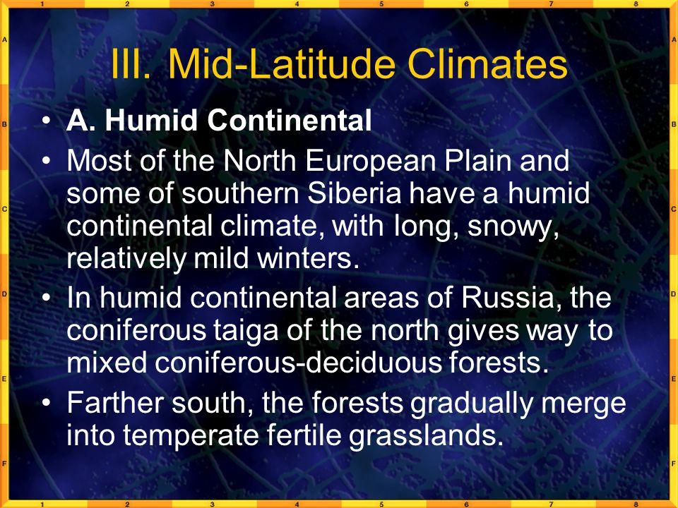 III. Mid-Latitude Climates