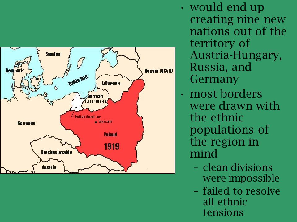 would end up creating nine new nations out of the territory of Austria-Hungary, Russia, and Germany
