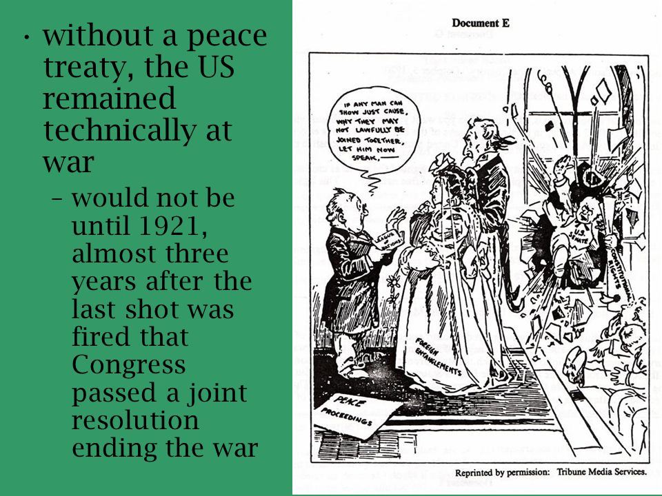 without a peace treaty, the US remained technically at war