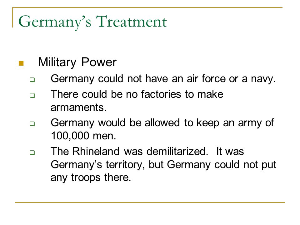 Germany's Treatment Military Power