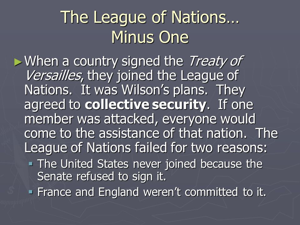 The League of Nations… Minus One