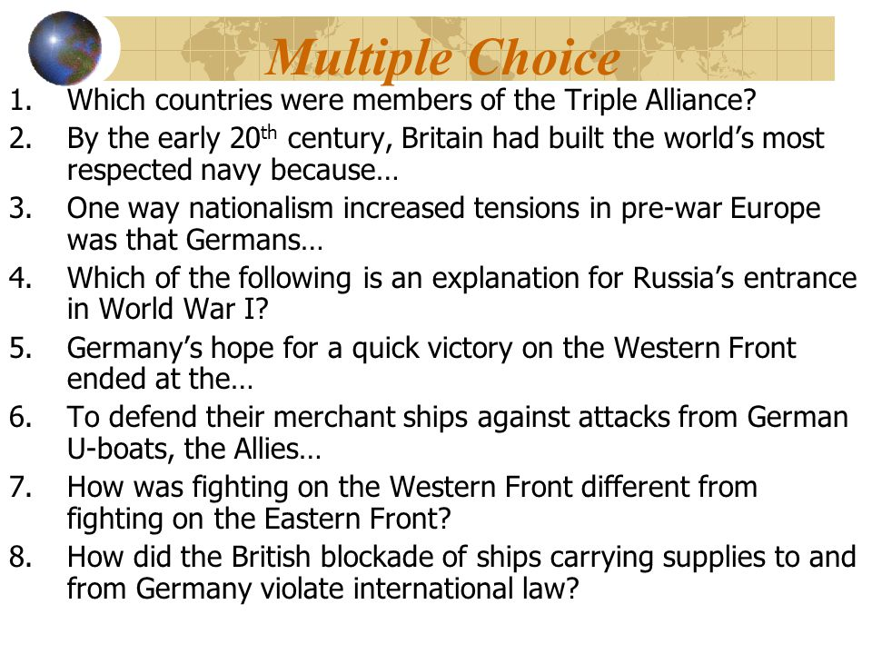Multiple Choice Which countries were members of the Triple Alliance