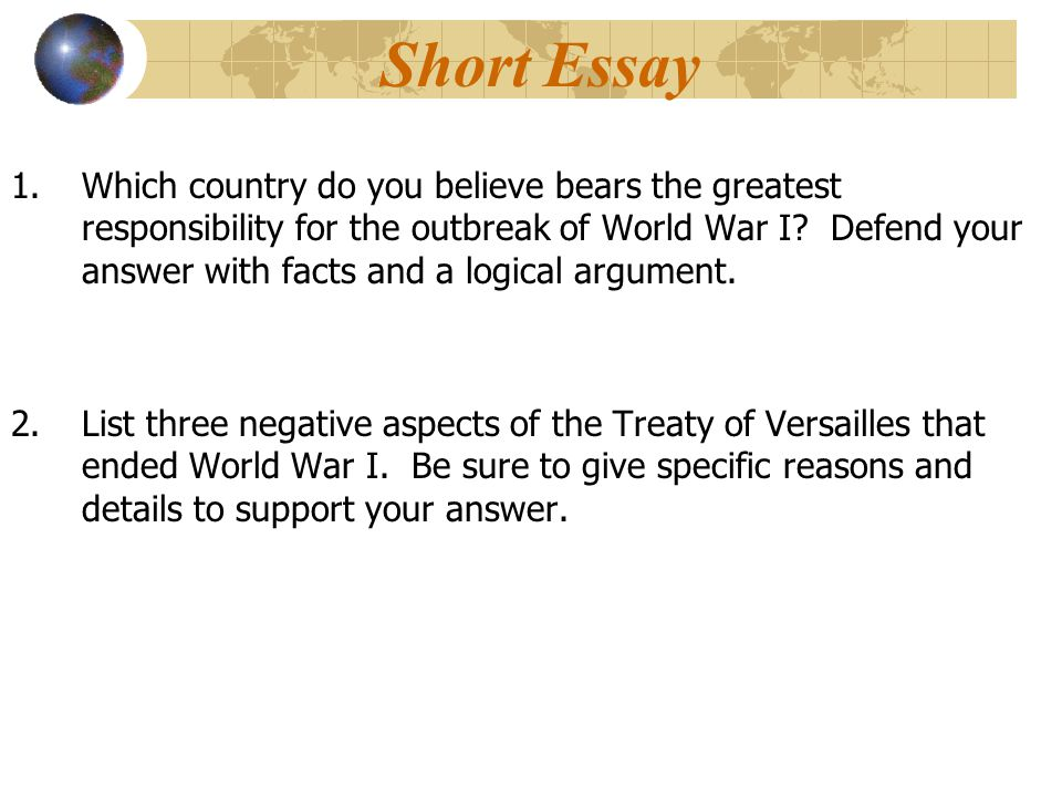 short essay world war 1