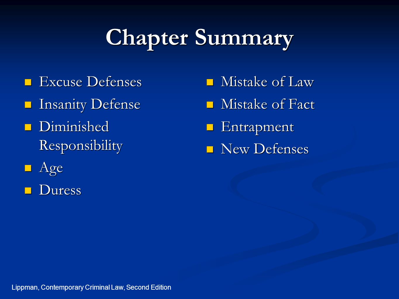 Chapter Summary Excuse Defenses Insanity Defense
