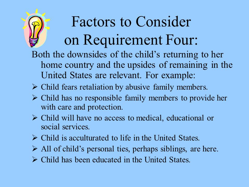 Factors to Consider on Requirement Four: