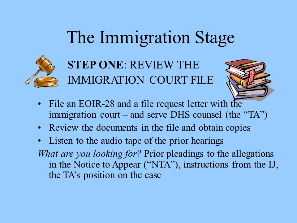 The Immigration Stage STEP ONE: REVIEW THE IMMIGRATION COURT FILE
