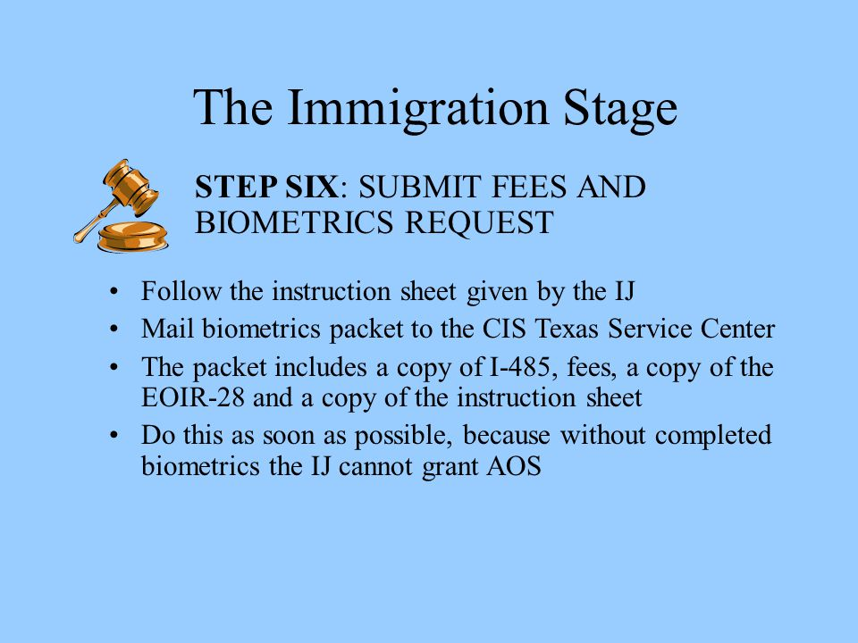 The Immigration Stage STEP SIX: SUBMIT FEES AND BIOMETRICS REQUEST