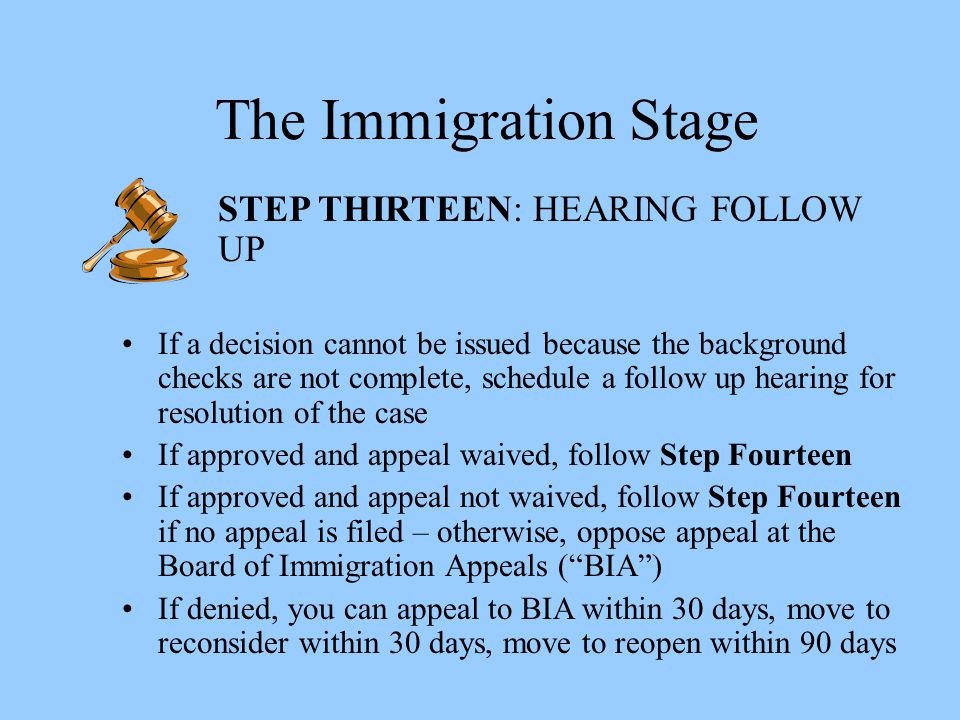 The Immigration Stage STEP THIRTEEN: HEARING FOLLOW UP