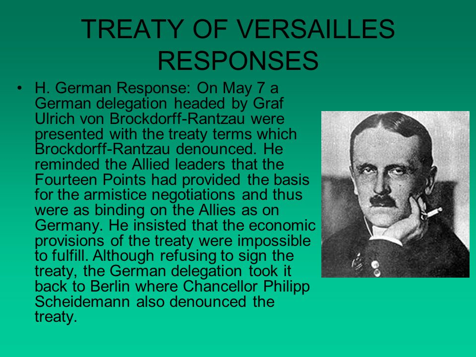 TREATY OF VERSAILLES RESPONSES