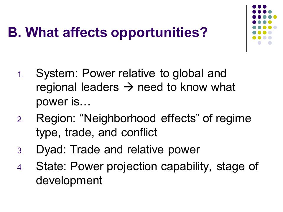 B. What affects opportunities