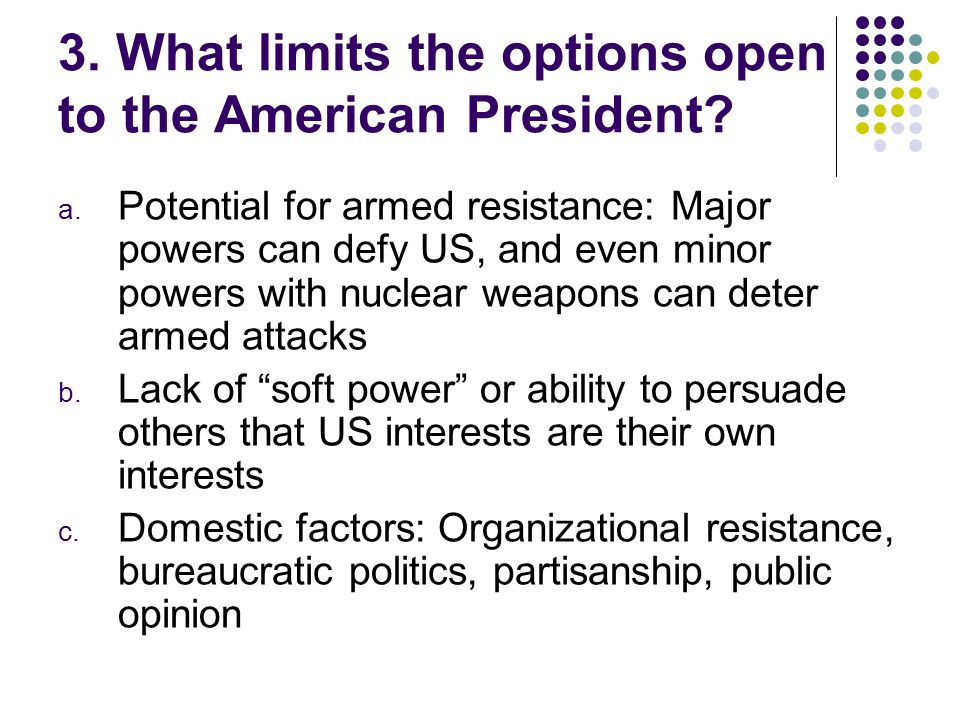 3. What limits the options open to the American President