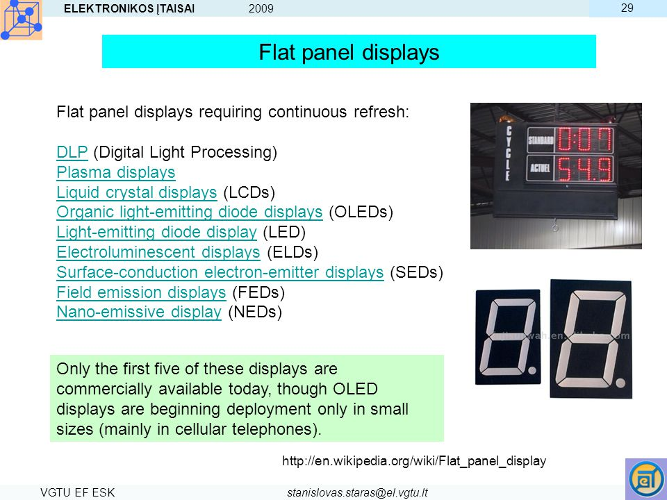 Flat panel displays Flat panel displays requiring continuous refresh: