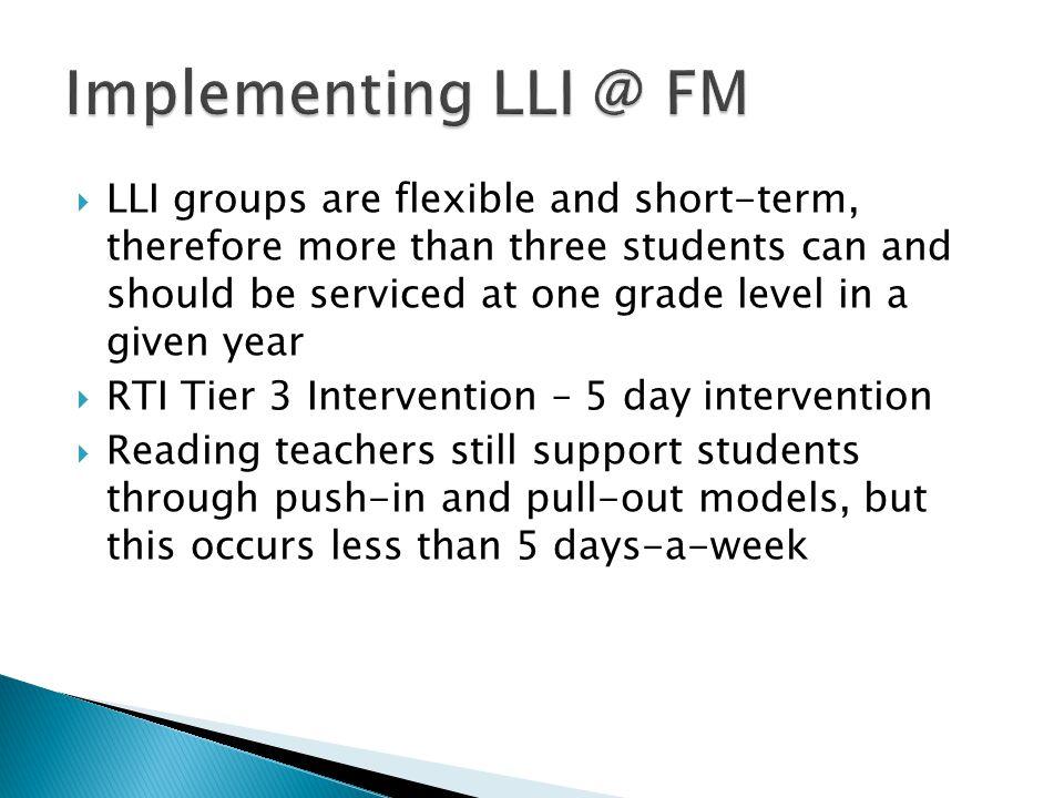 Implementing LLI @ FM