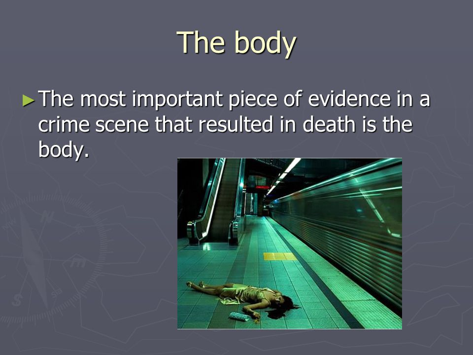 The body The most important piece of evidence in a crime scene that resulted in death is the body.