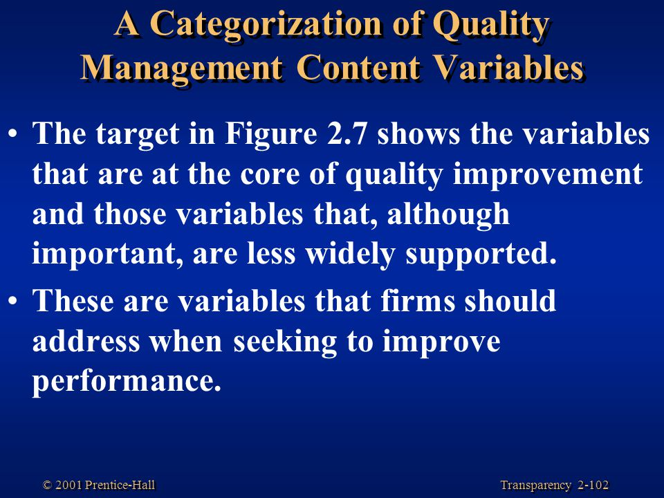 A Categorization of Quality Management Content Variables