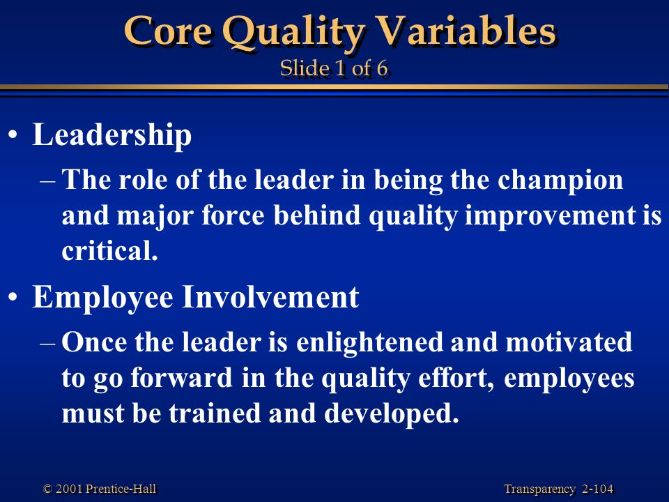 Core Quality Variables Slide 1 of 6