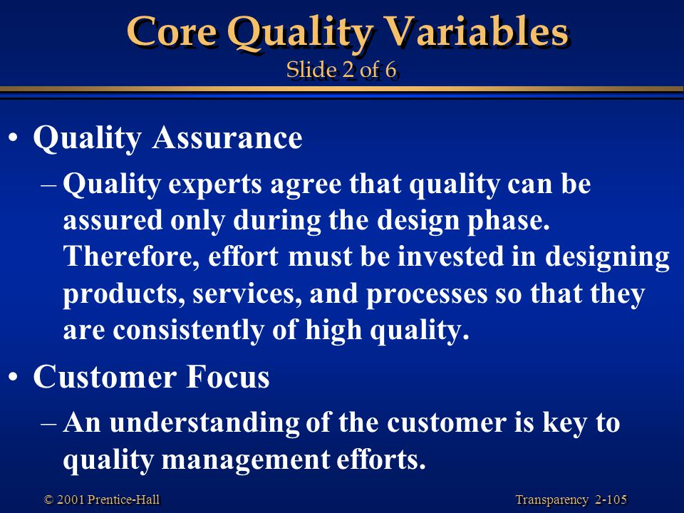 Core Quality Variables Slide 2 of 6