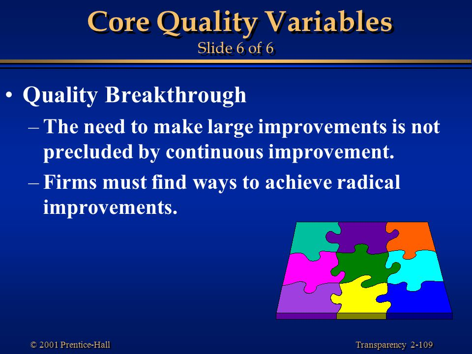 Core Quality Variables Slide 6 of 6