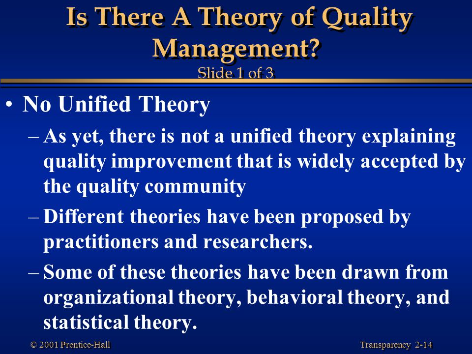 Is There A Theory of Quality Management Slide 1 of 3