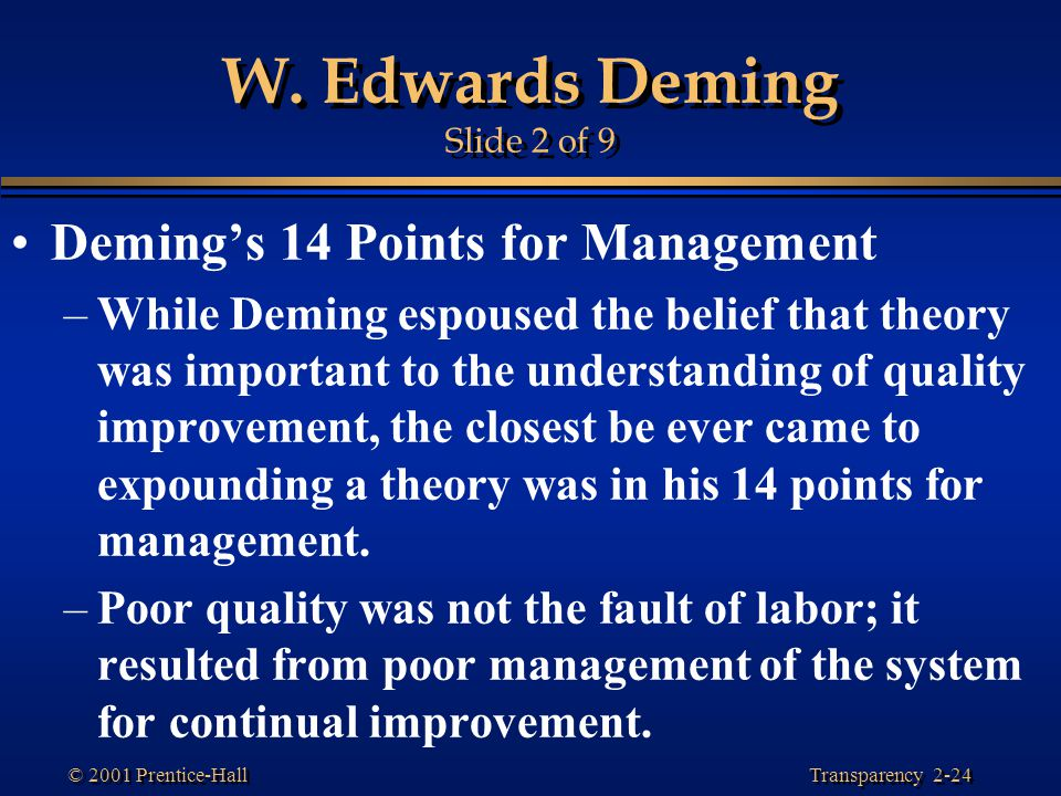 edwards deming management philosophy W edwards deming offered 14 key principles for management to follow for significantly improving the effectiveness of a business or organization many of the principles are philosophical others are more programmatic all are transformative in nature.