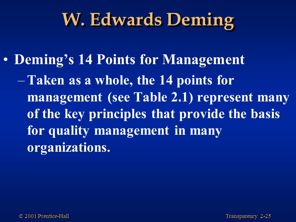 W. Edwards Deming Deming's 14 Points for Management
