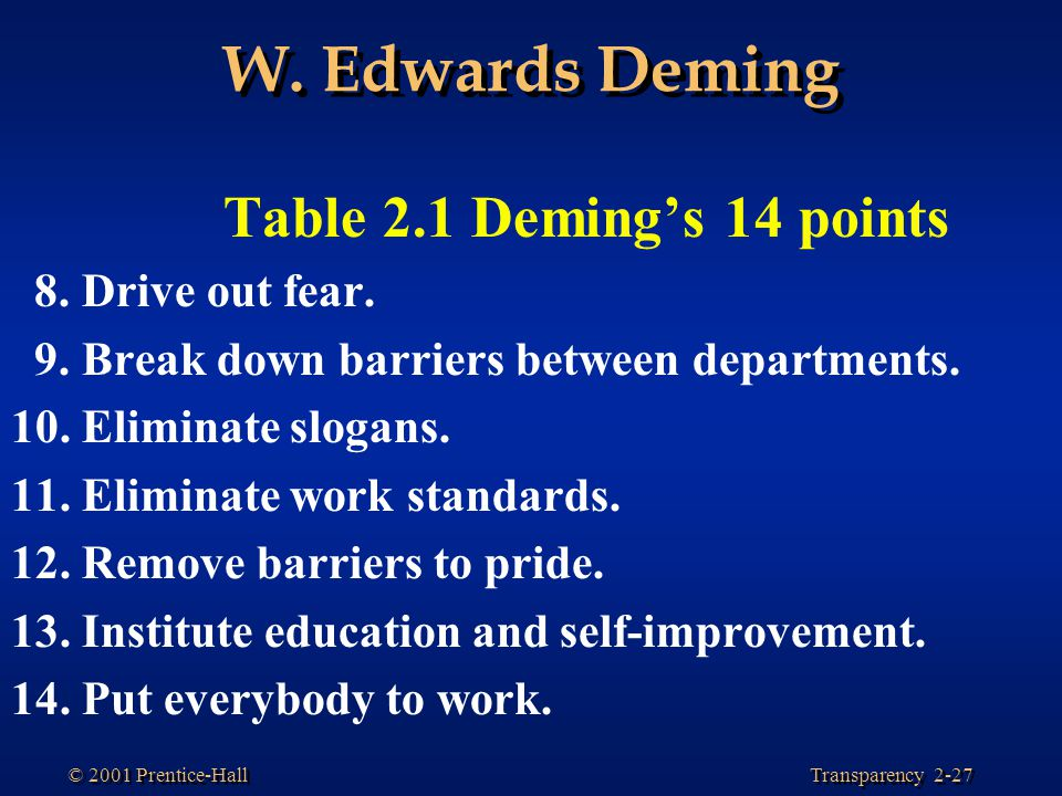 W. Edwards Deming Table 2.1 Deming's 14 points 8. Drive out fear.