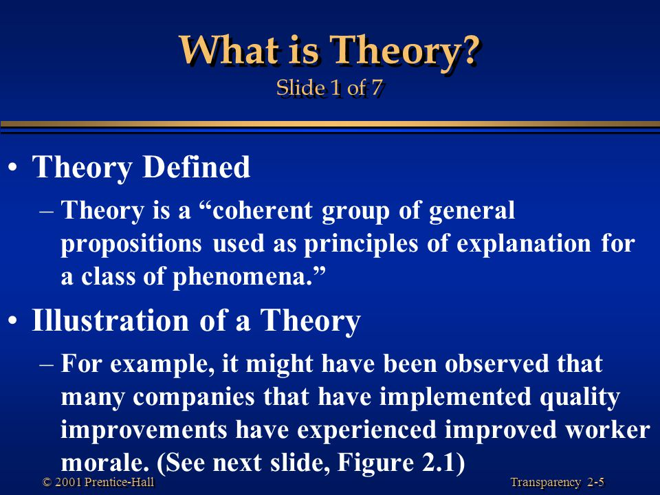 What is Theory Slide 1 of 7 Theory Defined Illustration of a Theory