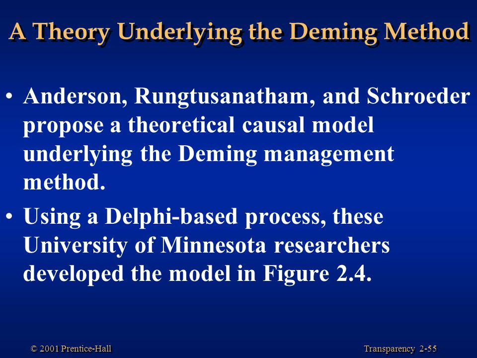 A Theory Underlying the Deming Method