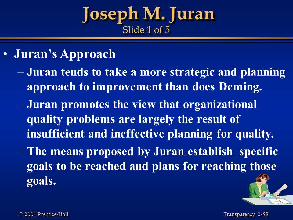 Joseph M. Juran Slide 1 of 5 Juran's Approach
