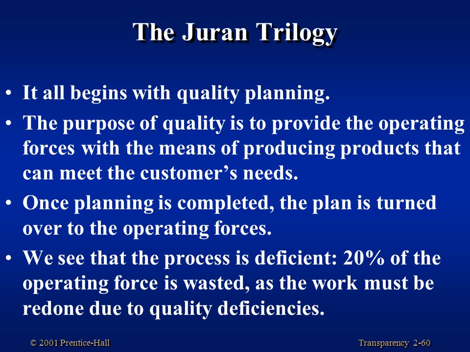 The Juran Trilogy It all begins with quality planning.