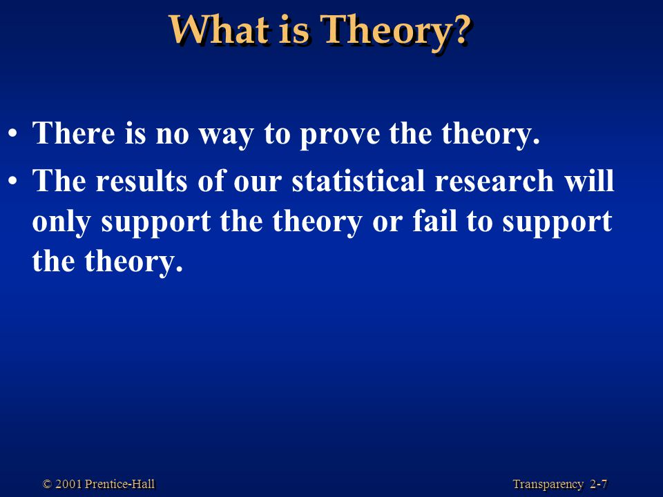 What is Theory There is no way to prove the theory.