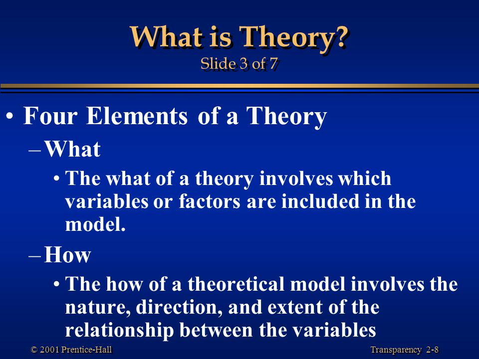 What is Theory Slide 3 of 7 Four Elements of a Theory What How