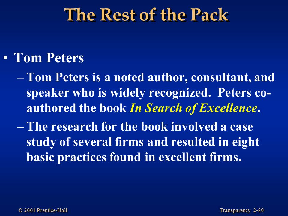 The Rest of the Pack Tom Peters