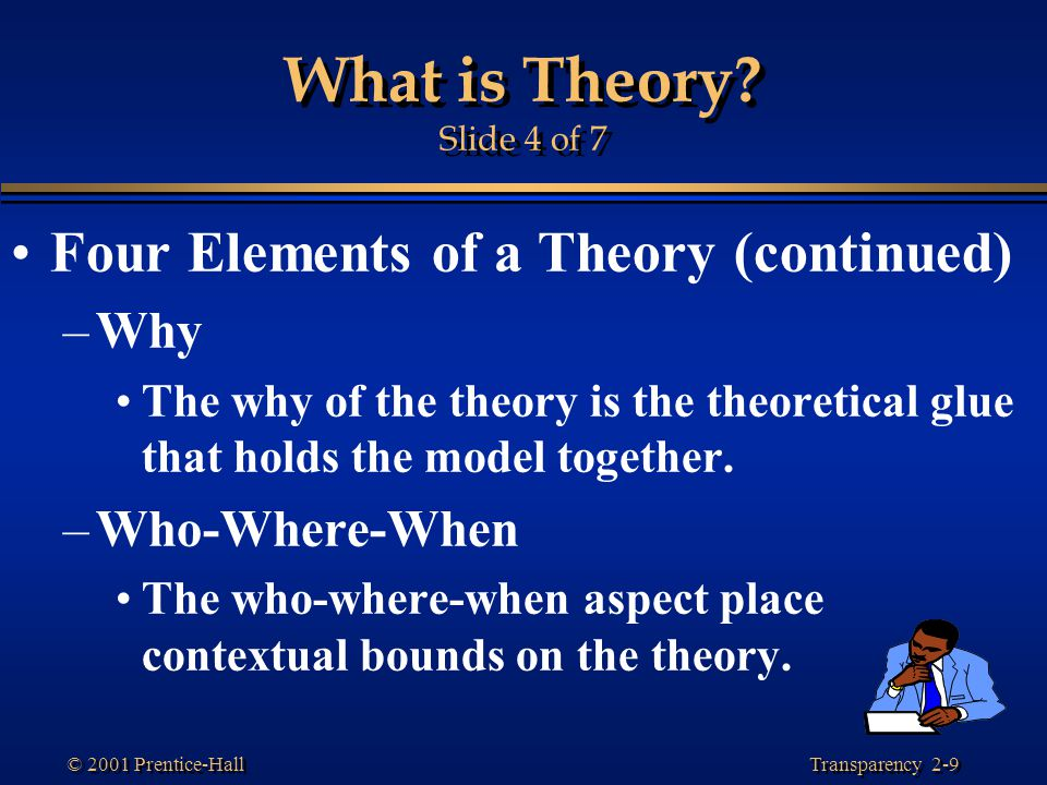 What is Theory Slide 4 of 7 Four Elements of a Theory (continued) Why
