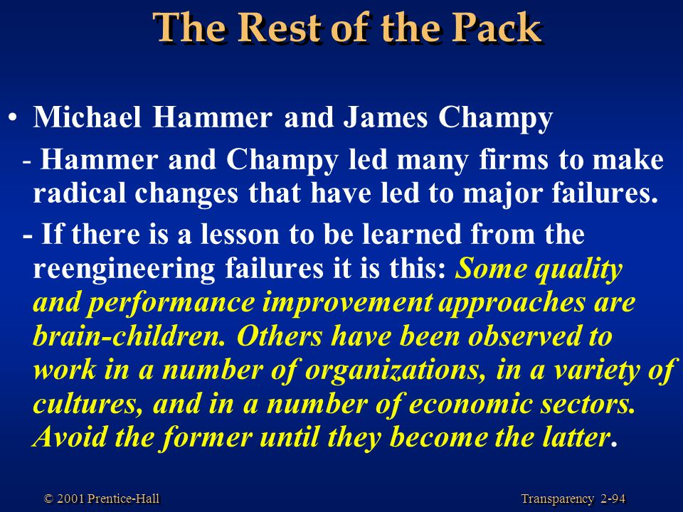 The Rest of the Pack Michael Hammer and James Champy