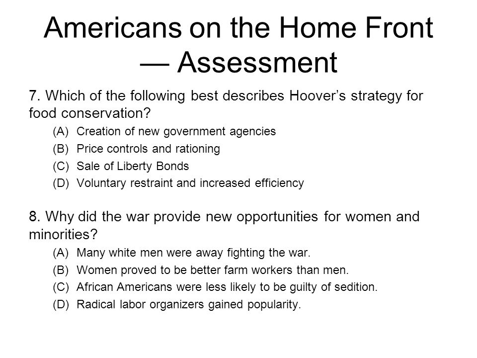 Americans on the Home Front — Assessment