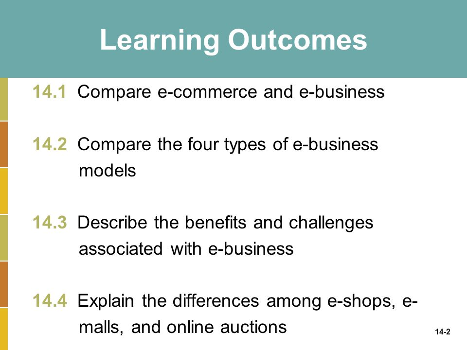 Learning Outcomes 14.1 Compare e-commerce and e-business