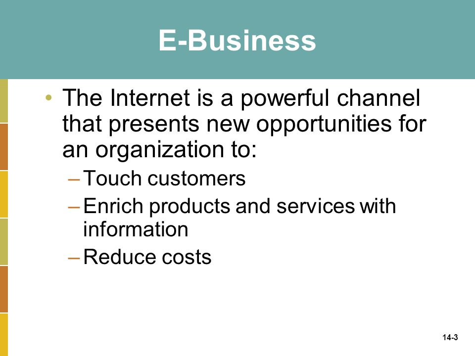 E-Business The Internet is a powerful channel that presents new opportunities for an organization to: